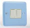 Varilight Pastel 2 Gang 10A 1 or 2 way Rocker Light Switch Duck Egg Blue XY2W.DB
